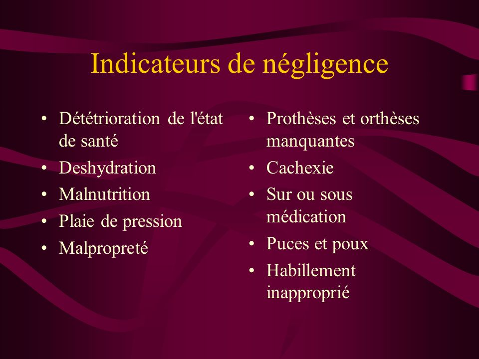 Indicateurs de négligence
