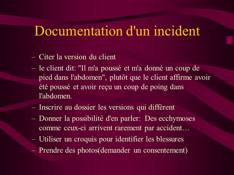 Documentation d un incident
