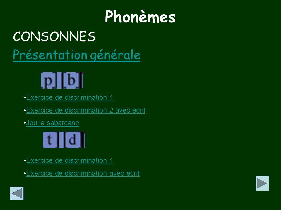 Phonèmes CONSONNES Présentation générale Exercice de discrimination 1
