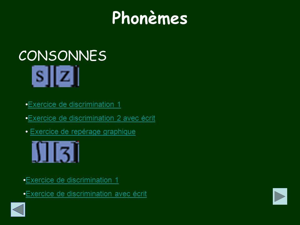 Phonèmes CONSONNES Exercice de discrimination 1
