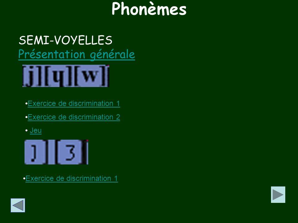 Phonèmes SEMI-VOYELLES Présentation générale