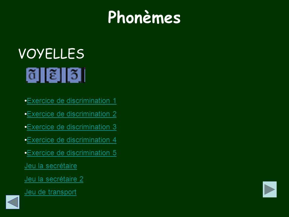 Phonèmes VOYELLES Exercice de discrimination 1