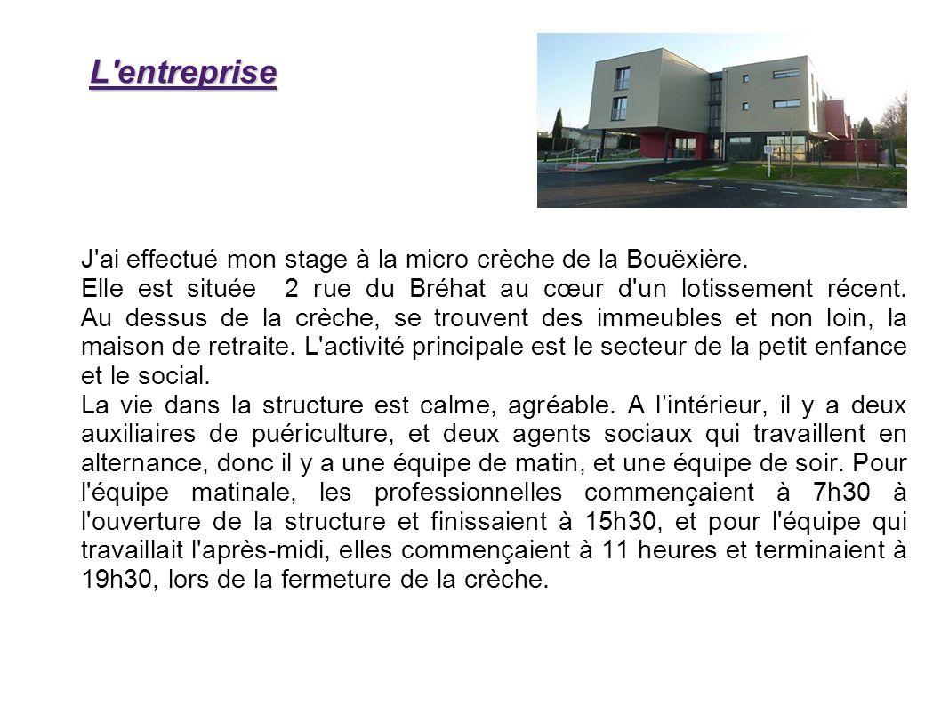 L entreprise J ai effectué mon stage à la micro crèche de la Bouëxière.