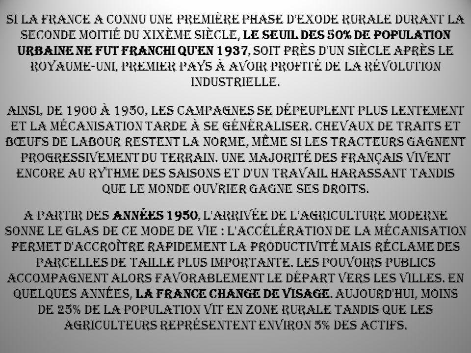 Si la France a connu une première phase d exode rurale durant la seconde moitié du XIXème siècle, le seuil des 50% de population urbaine ne fut franchi qu en 1937, soit près d un siècle après le Royaume-Uni, premier pays à avoir profité de la révolution industrielle.