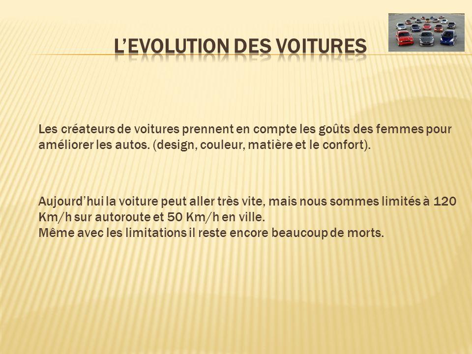 L'EVOLUTION DES VOITURES