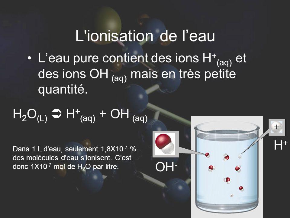L ionisation de l'eau L'eau pure contient des ions H+(aq) et des ions OH-(aq) mais en très petite quantité.