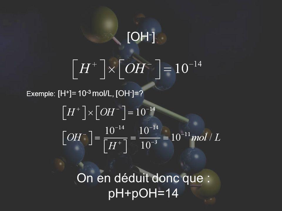 On en déduit donc que : pH+pOH=14