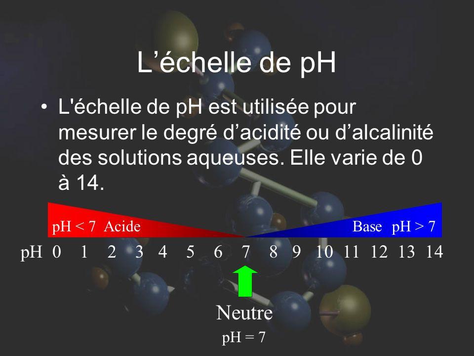 L'échelle de pH L échelle de pH est utilisée pour mesurer le degré d'acidité ou d'alcalinité des solutions aqueuses. Elle varie de 0 à 14.