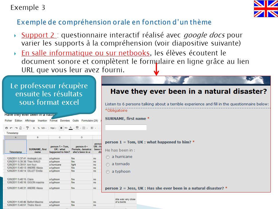 Exemple de compréhension orale en fonction d'un thème