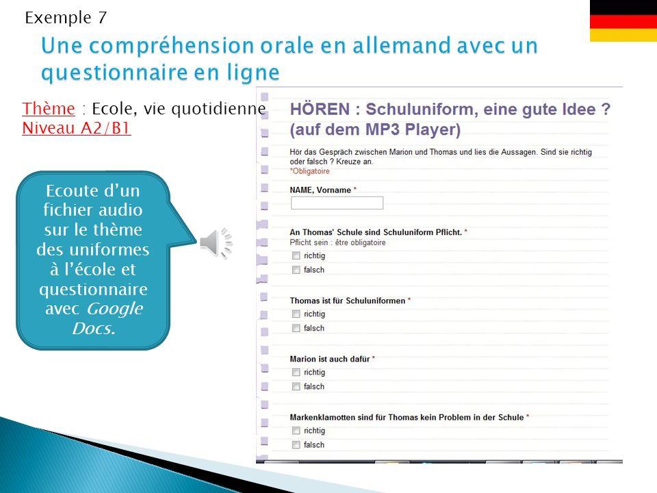Une compréhension orale en allemand avec un questionnaire en ligne