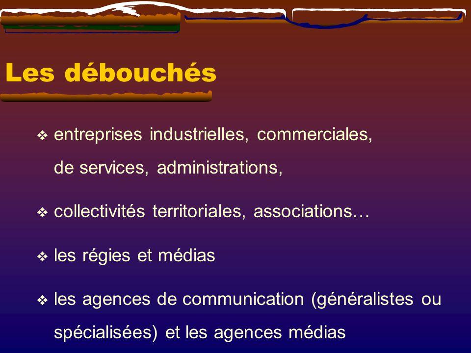 Les débouchés entreprises industrielles, commerciales, de services, administrations, collectivités territoriales, associations…