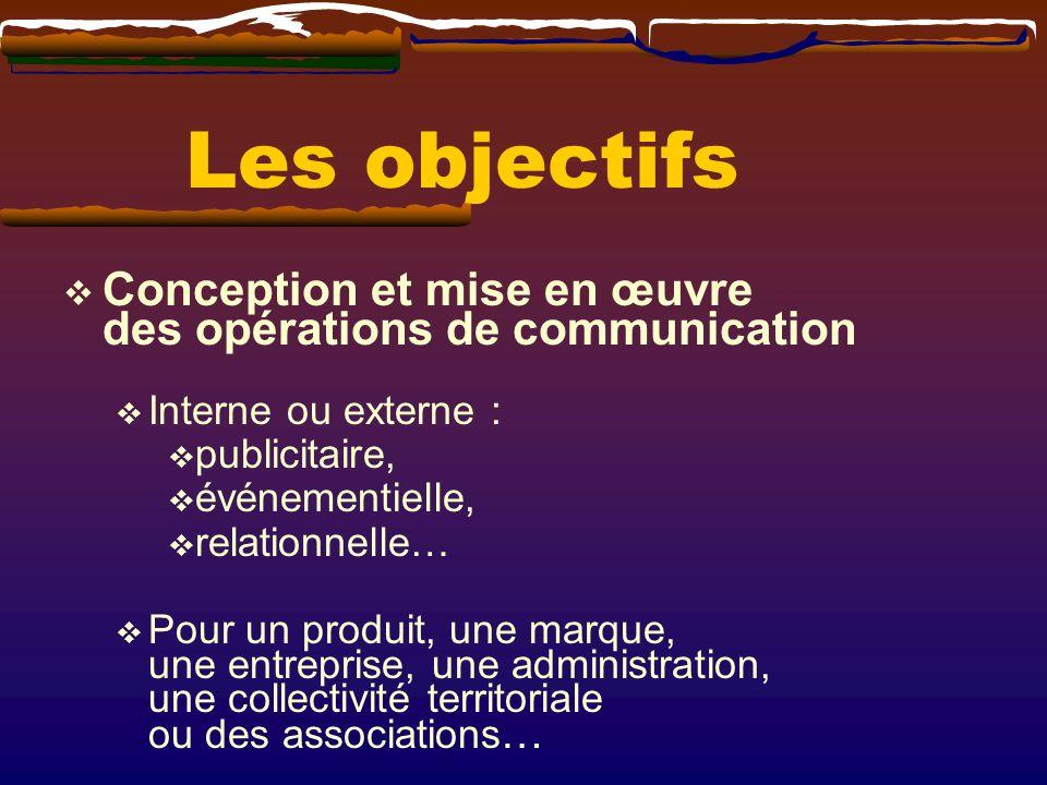 Les objectifs Conception et mise en œuvre des opérations de communication. Interne ou externe : publicitaire,
