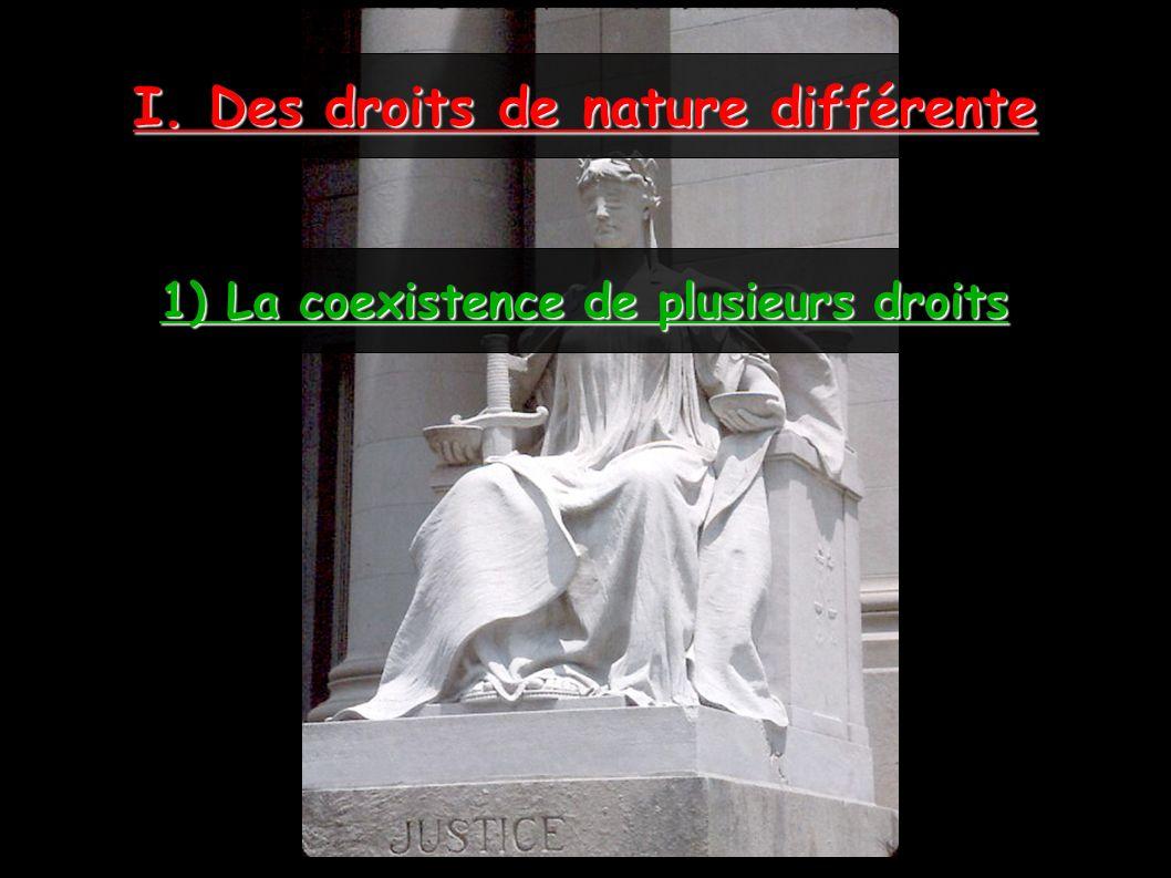 I. Des droits de nature différente