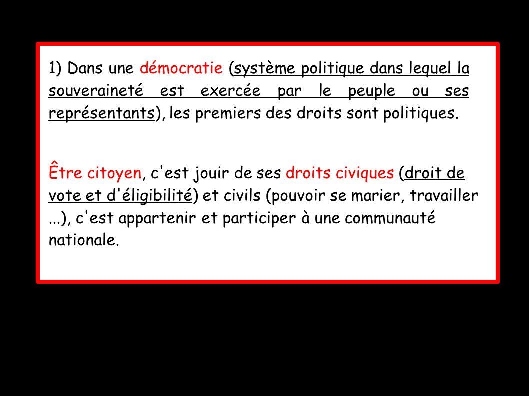 1) Dans une démocratie (système politique dans lequel la souveraineté est exercée par le peuple ou ses représentants), les premiers des droits sont politiques.