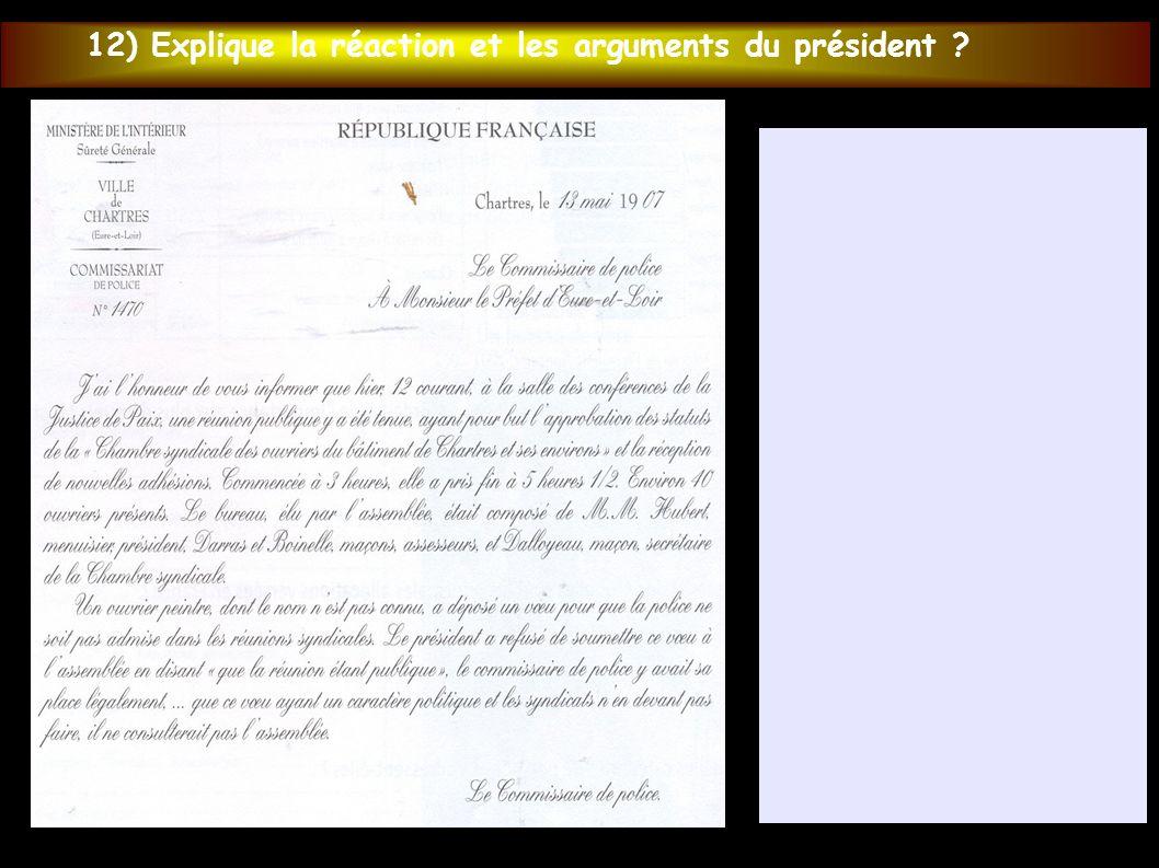 12) Explique la réaction et les arguments du président