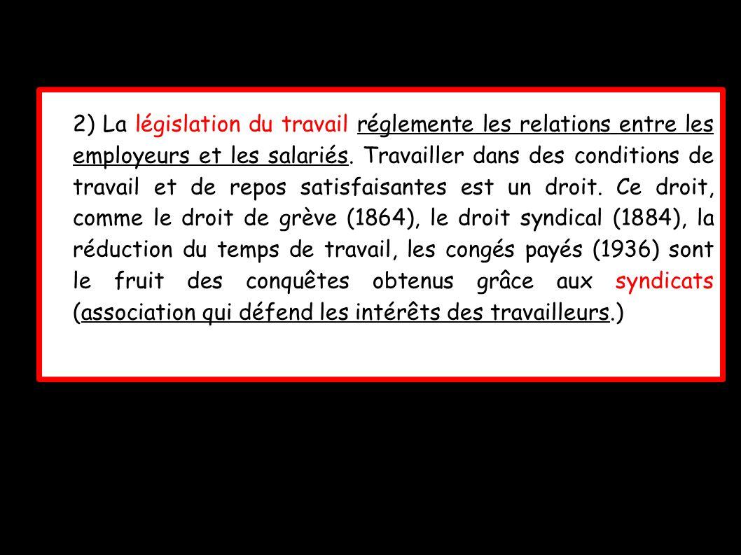 2) La législation du travail réglemente les relations entre les employeurs et les salariés.