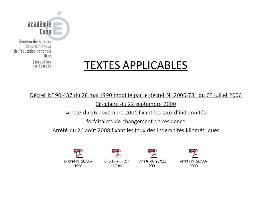 TEXTES APPLICABLES Décret N° 90-437 du 28 mai 1990 modifié par le décret N° 2006-781 du 03 juillet 2006.