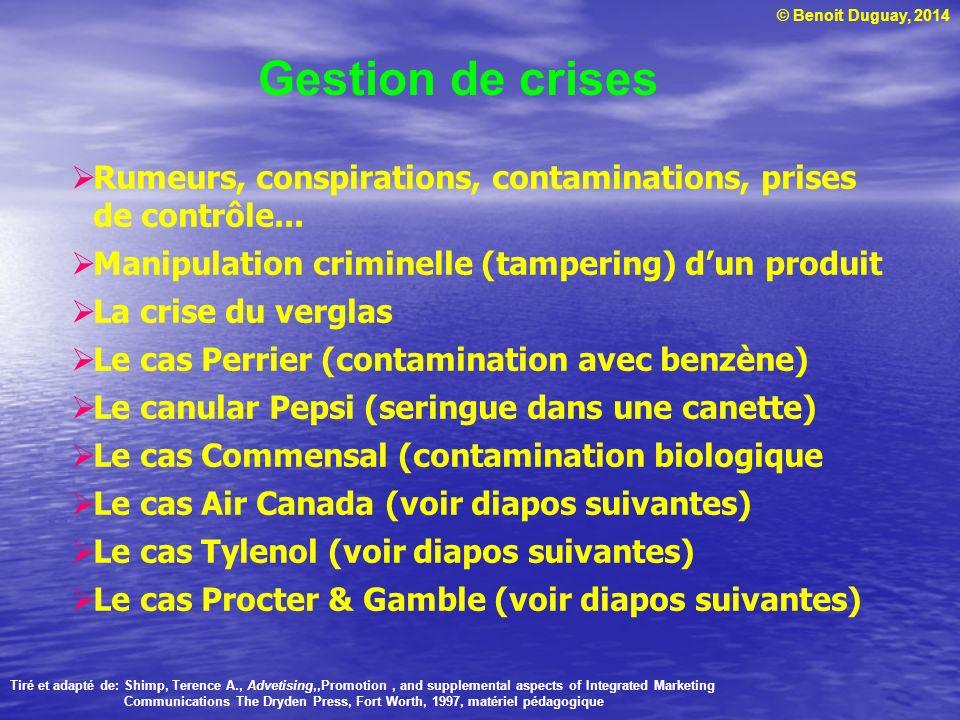 Gestion de crises Rumeurs, conspirations, contaminations, prises de contrôle... Manipulation criminelle (tampering) d'un produit.