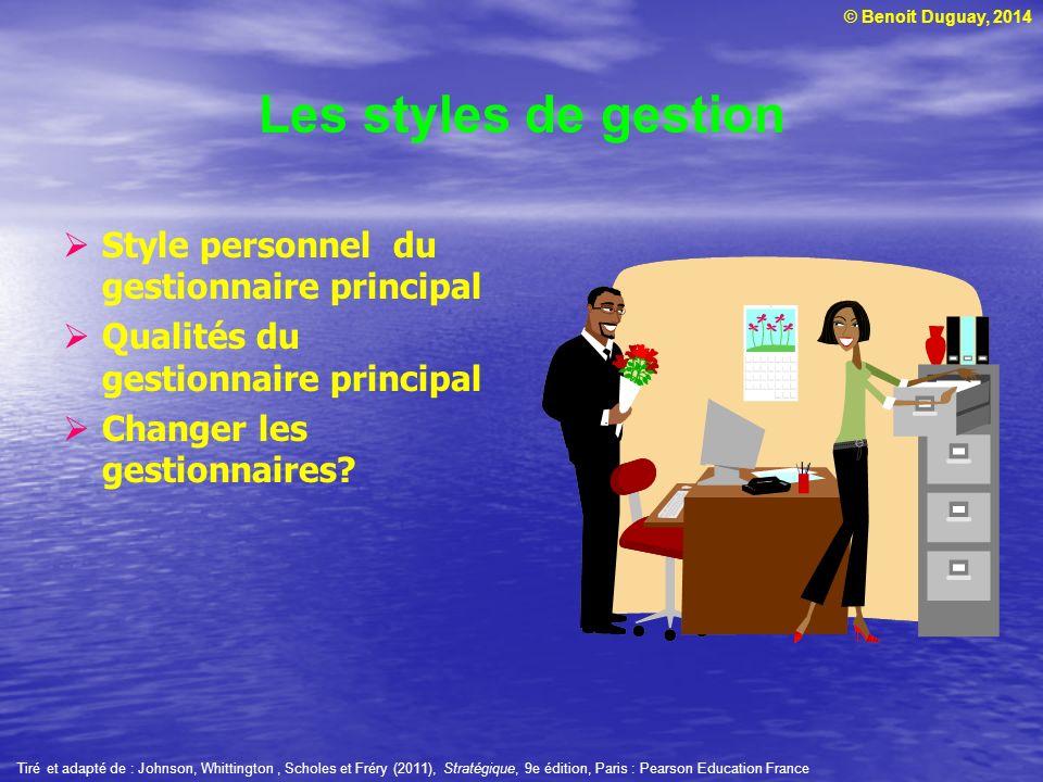 Les styles de gestion Style personnel du gestionnaire principal