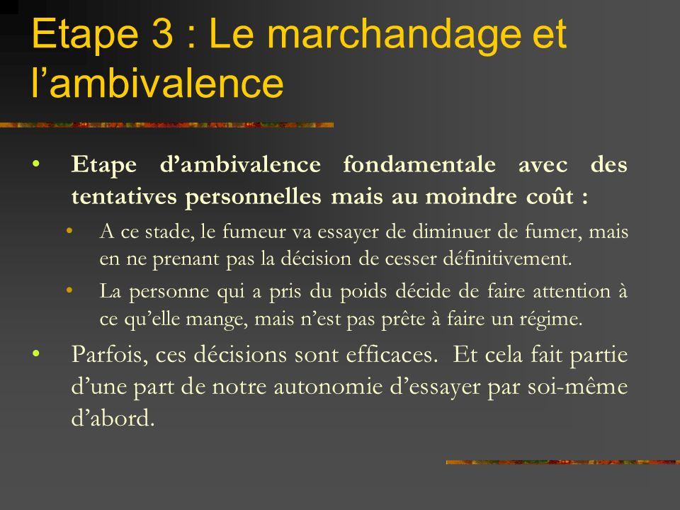 Etape 3 : Le marchandage et l'ambivalence
