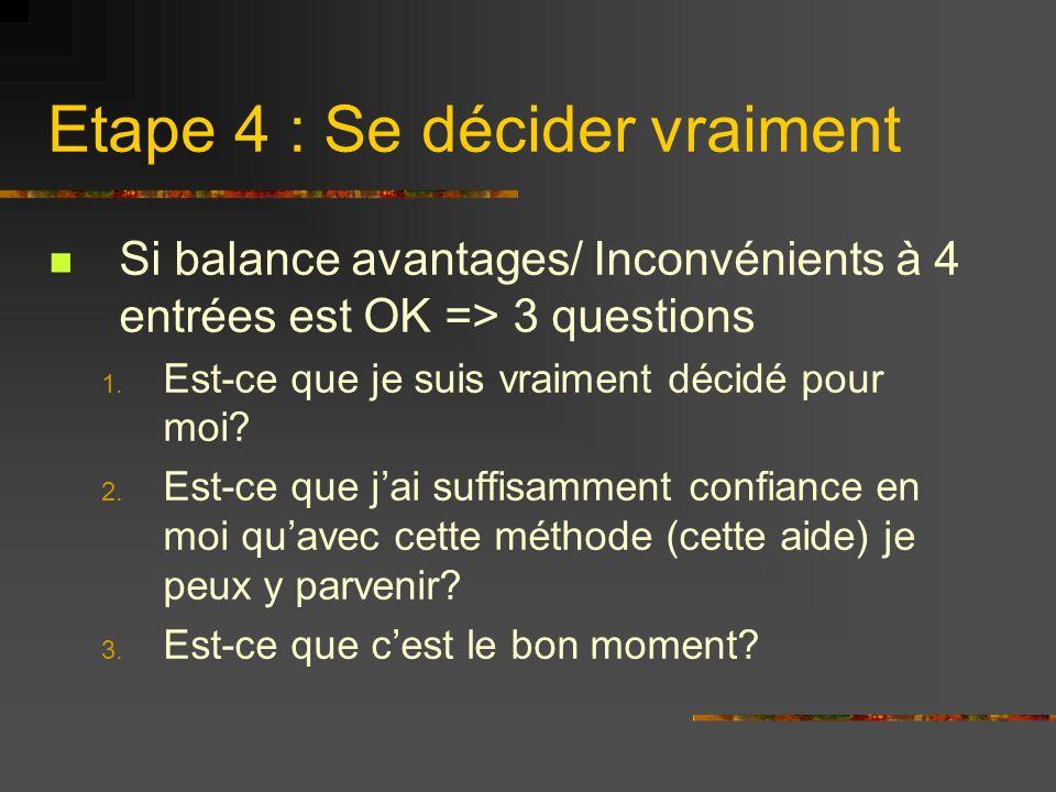 Etape 4 : Se décider vraiment