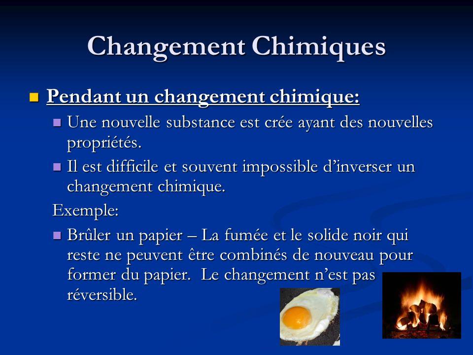 Changement Chimiques Pendant un changement chimique: