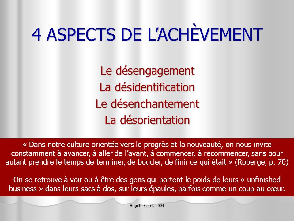 4 ASPECTS DE L'ACHÈVEMENT