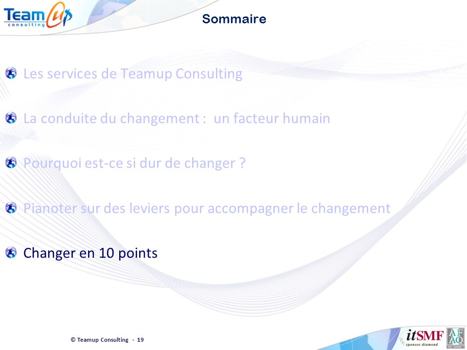 Les services de Teamup Consulting