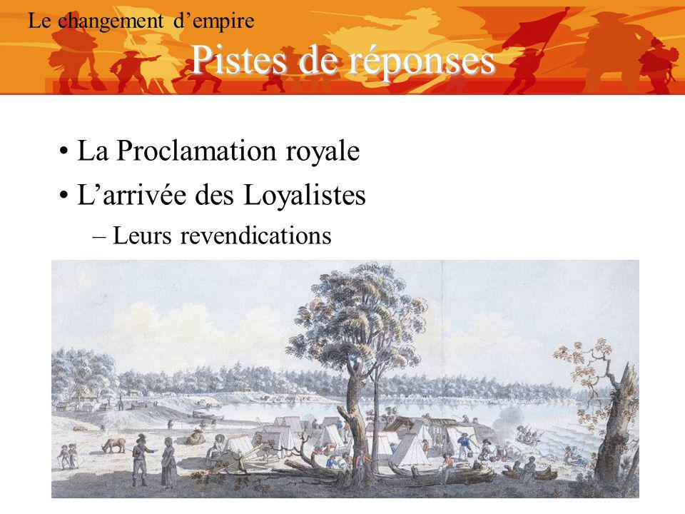Pistes de réponses La Proclamation royale L'arrivée des Loyalistes