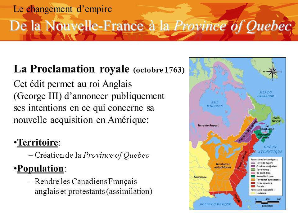De la Nouvelle-France à la Province of Quebec