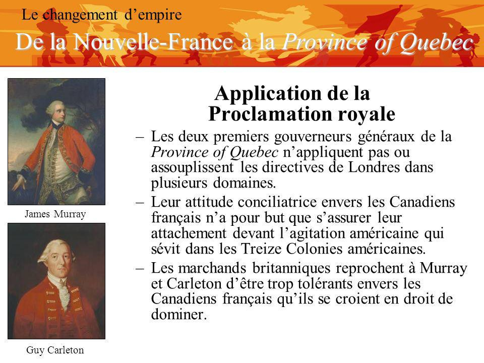 Application de la Proclamation royale