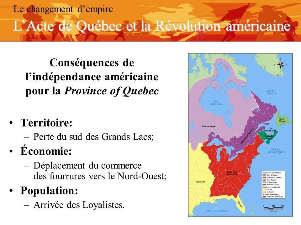 Conséquences de l'indépendance américaine pour la Province of Quebec