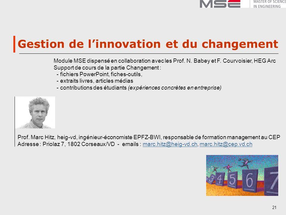 Gestion de l'innovation et du changement
