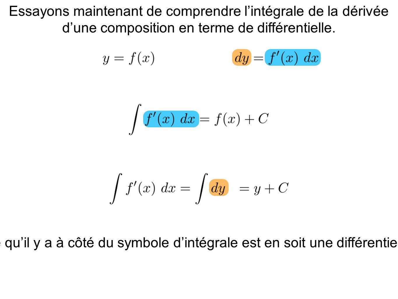 Essayons maintenant de comprendre l'intégrale de la dérivée d'une composition en terme de différentielle.