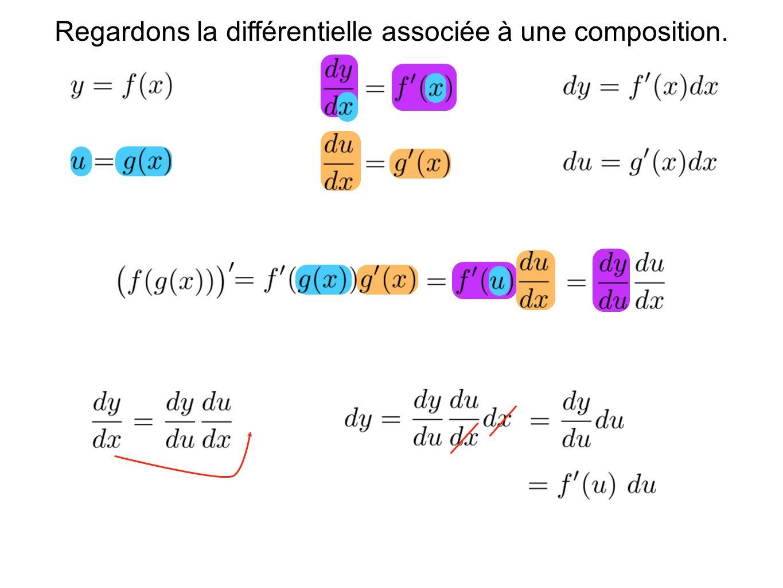 Regardons la différentielle associée à une composition.