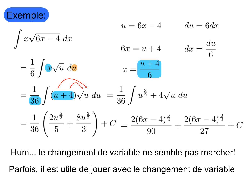 Exemple: Hum... le changement de variable ne semble pas marcher!