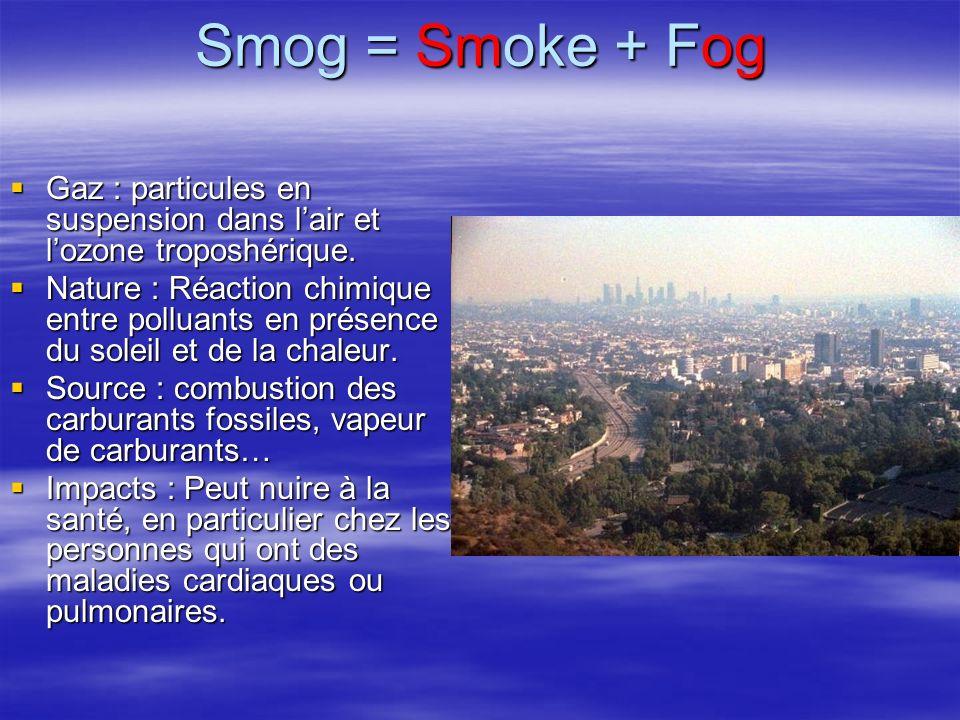 Smog = Smoke + Fog Gaz : particules en suspension dans l'air et l'ozone troposhérique.
