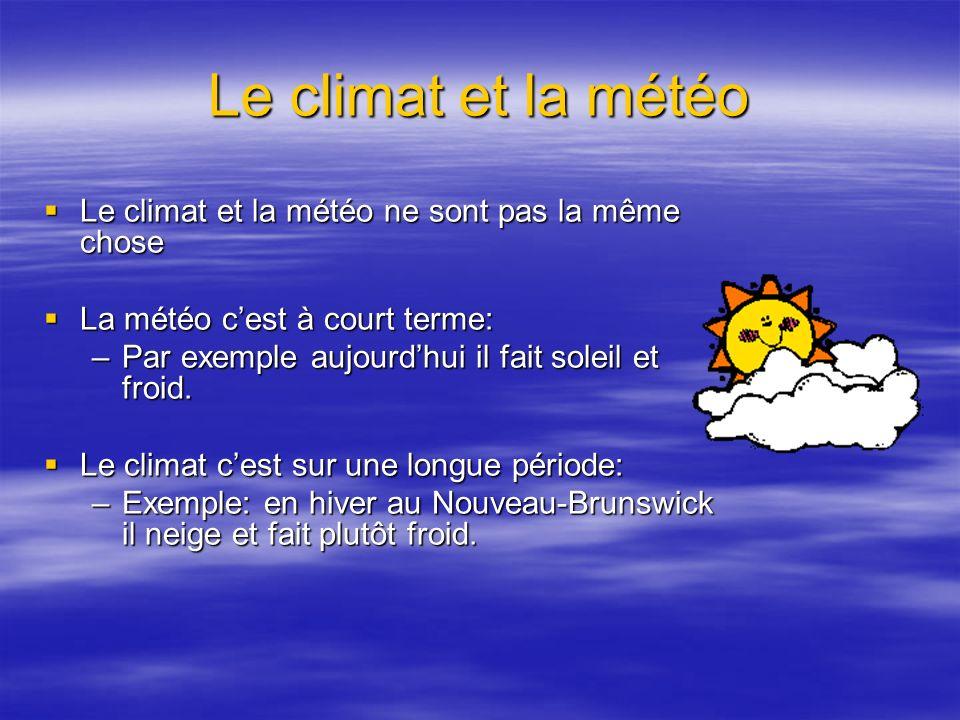 Le climat et la météo Le climat et la météo ne sont pas la même chose