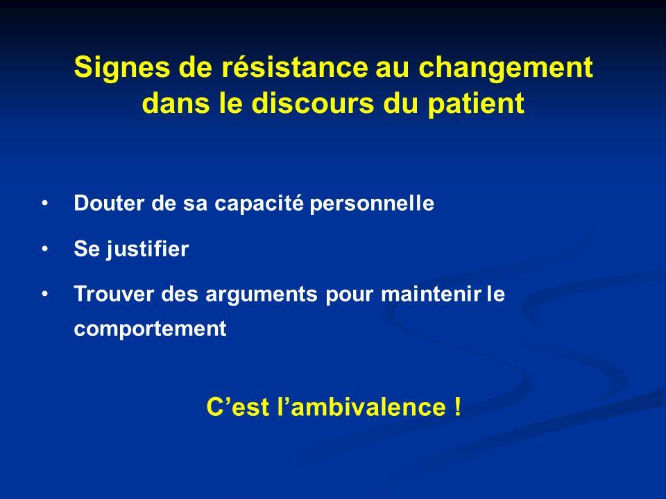 Signes de résistance au changement dans le discours du patient