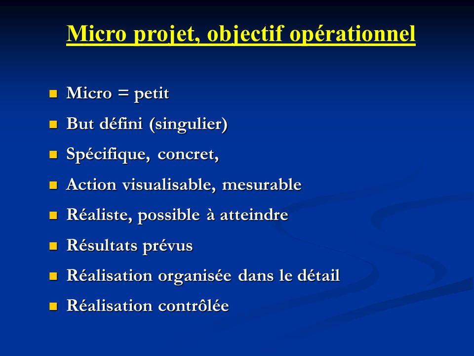 Micro projet, objectif opérationnel