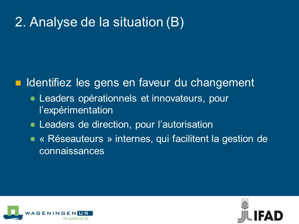 2. Analyse de la situation (B)