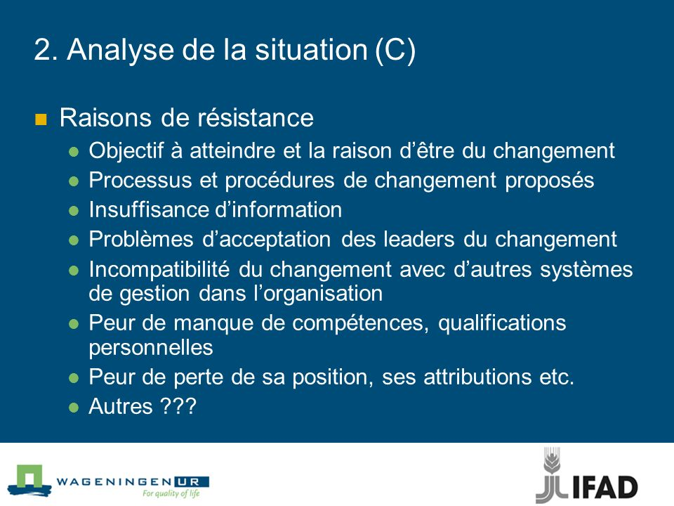2. Analyse de la situation (C)