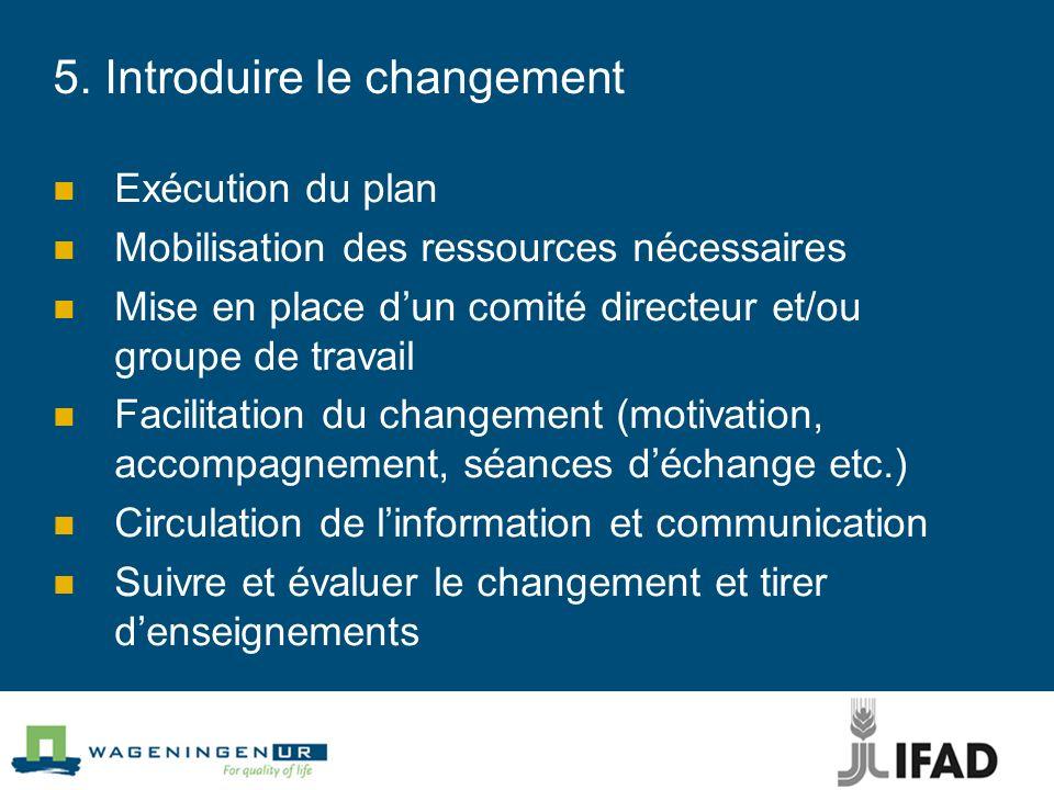 5. Introduire le changement