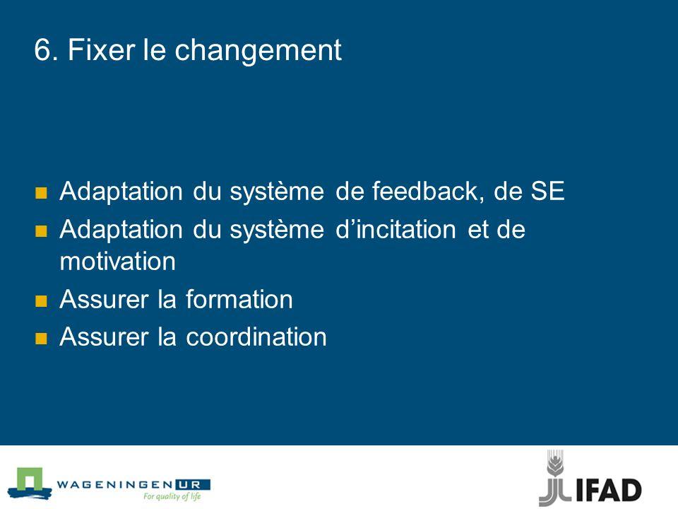 6. Fixer le changement Adaptation du système de feedback, de SE