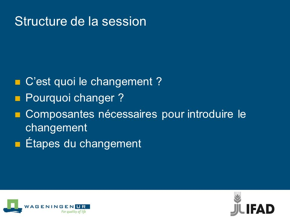 Structure de la session