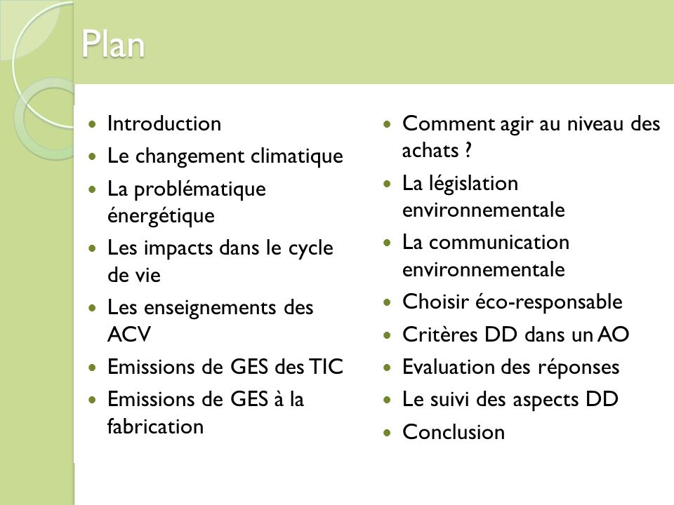 Plan Introduction Le changement climatique