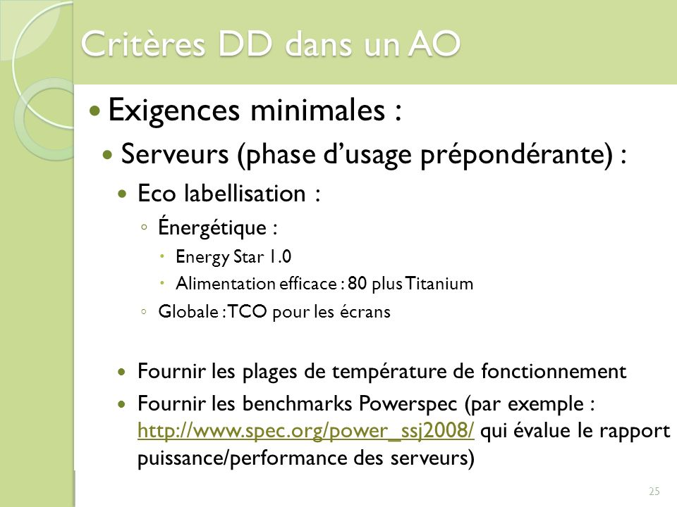 Critères DD dans un AO Exigences minimales :