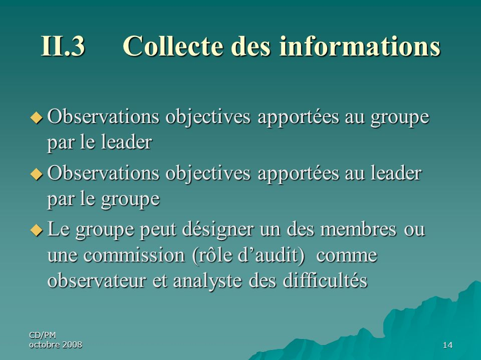 II.3 Collecte des informations