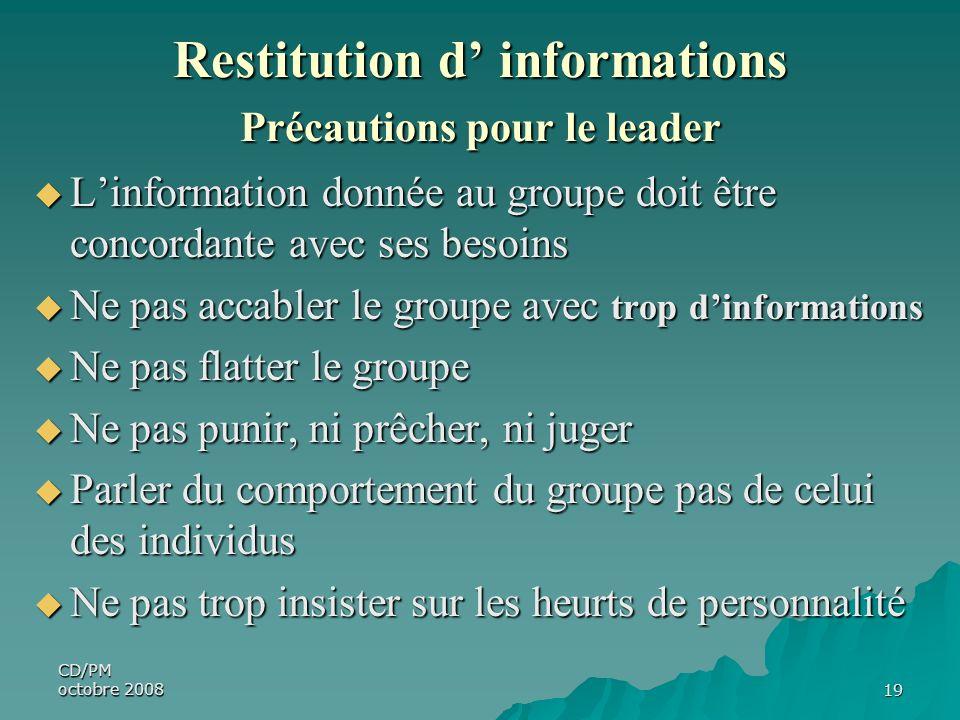 Restitution d' informations Précautions pour le leader