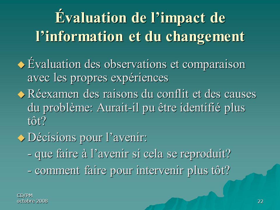 Évaluation de l'impact de l'information et du changement